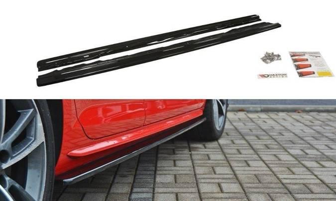 Dokładki progów Maxton Audi S4 / A4 S-Line B9 (czarny połysk)