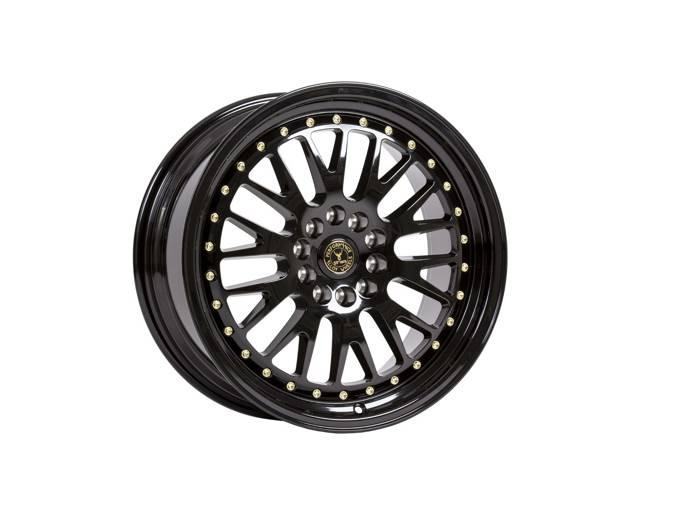 "Felgi aluminiowe 18"" 59 North Wheels D-003 18x8,5 ET35 5x114,3/120 Gloss black/gold rivets"